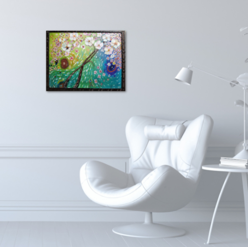 """""""cherry blossom tree painting on wall"""""""